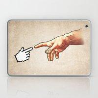 Funny 8bit Nerd & Geek Humor (Creation of Adam Parody) Laptop & iPad Skin