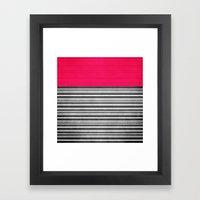 Pink Gray Stripes Framed Art Print