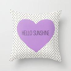 Hello Sunshine Purple He… Throw Pillow