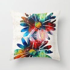 Colorful Daisy Art - Hip Daisies - By Sharon Cummings Throw Pillow