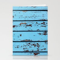 Blue Wooden Planks Stationery Cards