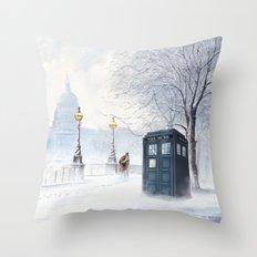 Tardis Snow Romantic Throw Pillow