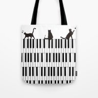 Piano Cat Tote Bag
