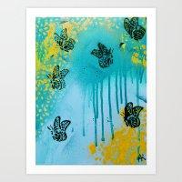 Teal Sky Tangerine Petal… Art Print