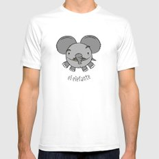 el elefante SMALL White Mens Fitted Tee