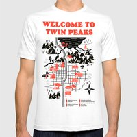 Twin Peaks Map Mens Fitted Tee White SMALL