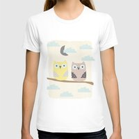 owls on a branch Womens Fitted Tee White SMALL