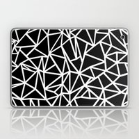 Abstract Outline Thick White on Black Laptop & iPad Skin