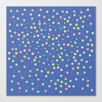 Dreamy Dots On Blue Canvas Print