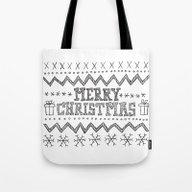Hand Drawn Merry Christm… Tote Bag