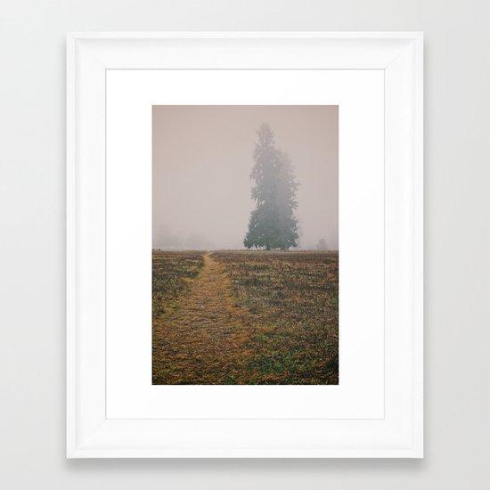 Hiking in the Fog Framed Art Print