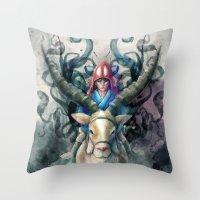 Ashitaka Demon Watercolo… Throw Pillow