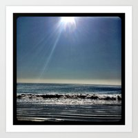 Sun over the waves. Art Print