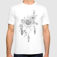 Death's Head Hawk Moth Totem White SMALL Mens Fitted Tee