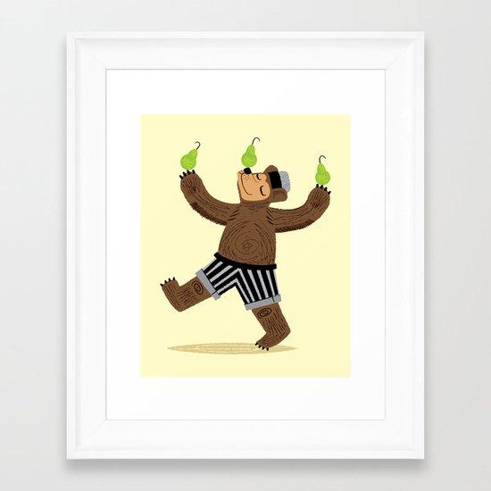 A Bear With Pears Framed Art Print