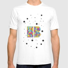 Letter B Mens Fitted Tee SMALL White