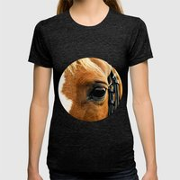 a horse's kind eyes. Womens Fitted Tee Tri-Black SMALL