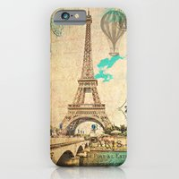 iPhone Cases featuring Vintage Eiffel Tower Paris by JMcCool