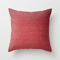 Red Bricks Wall6473 Throw Pillow