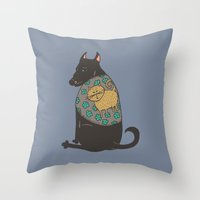 Black Dog In A Kitten Co… Throw Pillow