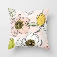 Peonies I Throw Pillow