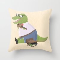 Hipster Dinosaur Jammin'… Throw Pillow