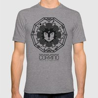 HOUSE CORRINO BADGE Mens Fitted Tee Athletic Grey SMALL
