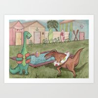 Dino Swim Party Art Print