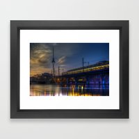 Berlin night and day Framed Art Print