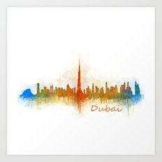 Dubai, emirates, City Cityscape Skyline watercolor art v3 Art Print