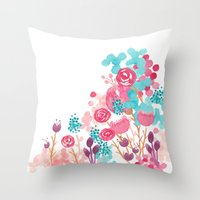 Blush Blossoms Throw Pillow
