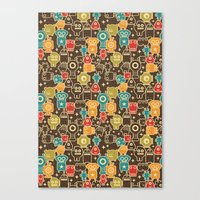 Robots On Brown. Canvas Print