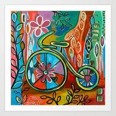 Onward-Whimsical Tricycle Painting Art Print