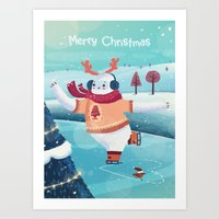 Merry Christmas with Yeti Art Print