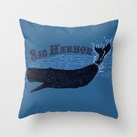 Sag Harbor Whale Throw Pillow
