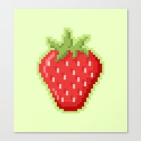 Pixel Strawberry Canvas Print