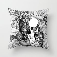 Butterfly rose skull with ladybugs. Good luck Throw Pillow