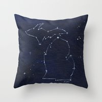 Mitten State Constellation Throw Pillow