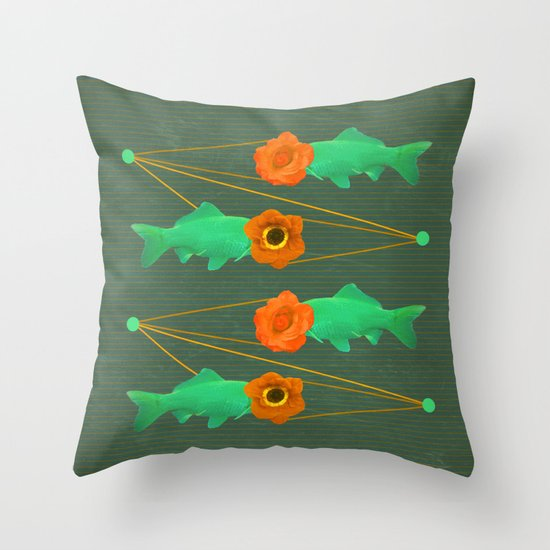 fishes and flowers color option Throw Pillow