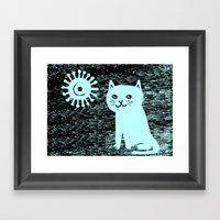 Wood Grain Cat Framed Art Print