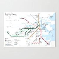 Boston Rapid Transit Map… Canvas Print