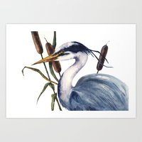 Heron Painting, Bird Art… Art Print