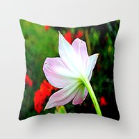 Throw Pillow featuring Pink Lily by Renee Trudell