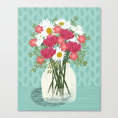 Vase of Daisies floral flowers spring summer mother's day illustration Andrea Lauren  Canvas Print