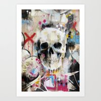 skull Art Prints featuring Skull by FAMOUS WHEN DEAD
