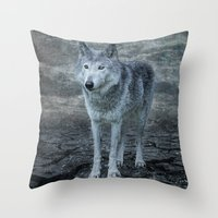 Le Loup Gris Throw Pillow