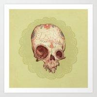 sugar skull Art Prints featuring Sugar Skull by Audrey Benjaminsen