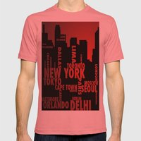 Cities Mens Fitted Tee Pomegranate SMALL