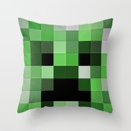 GREEN PIXEL Throw Pillow