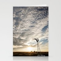 Sandhills Windmill @ Sunset Verticle Stationery Cards